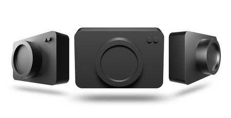 3D icon camera black color on a white background, isolated photo
