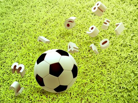 slow motion: 3D soccer and football with number on grass