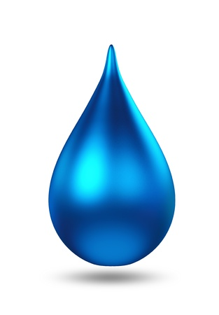 3D metal blue droplet  isolated  Standard-Bild