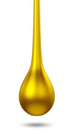 oil drop: 3D gold droplet  isolated