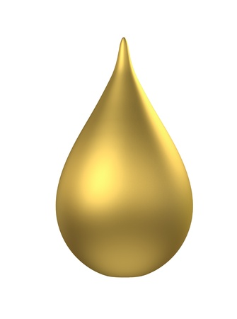 pure element: 3D gold droplet  isolated