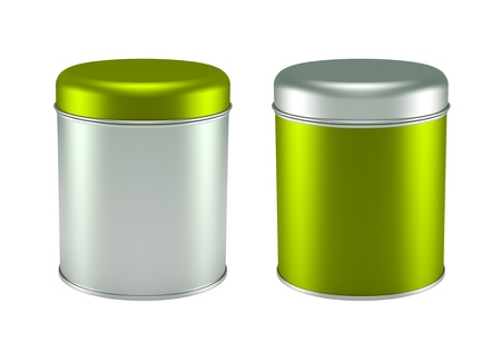 3D green silver Tin Can set design product package photo