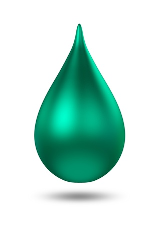 3D metal green droplet  isolated  photo
