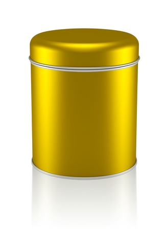 3D gold Tin Can design product package photo