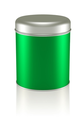 3D green silver Tin Can design product package photo