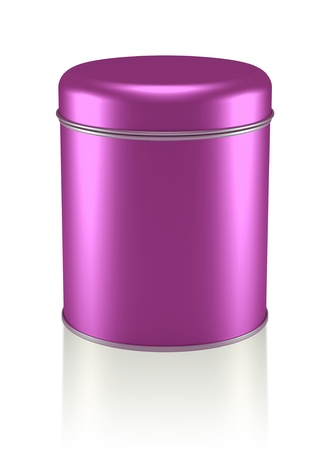 3D pink silver Tin Can design product package photo