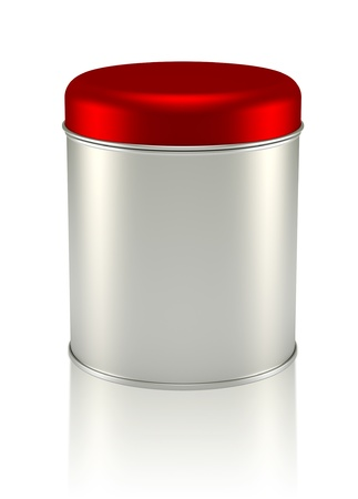 3D red silver Tin Can design product package photo