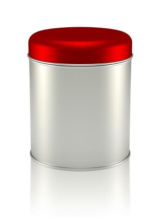 3D rood zilver Tin Can ontwerpen productpakket Stockfoto