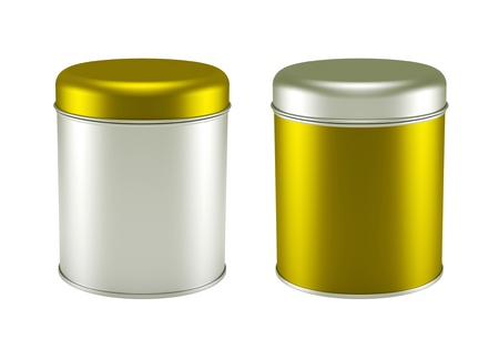 3D yellow silver Tin Can set design product package photo