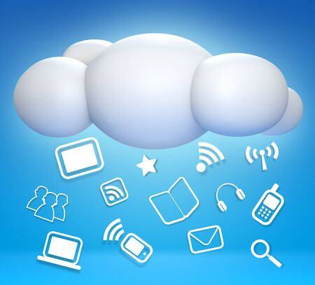 client service: 3D cloud and concept communicating on blue sky Stock Photo