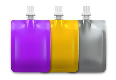 hygi�ne alimentaire: Emballages de boissons 3D pour la conception de boisson 3 set Banque d'images