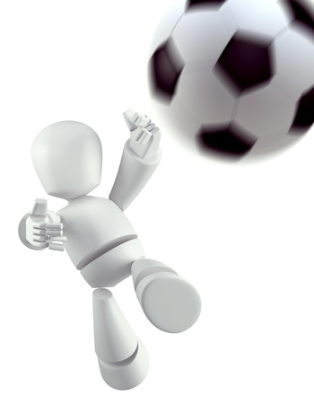 3D Robot robot playing soccer  isolated photo