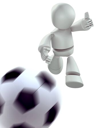 3D Robot playing soccer  isolated  photo