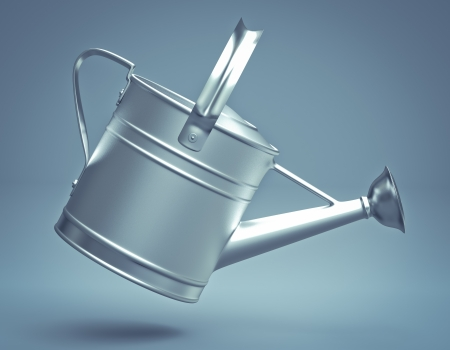 new plant: 3D silver watering can Stock Photo