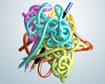 3D abstract pencil creative colorful on a white background  Isolated  photo