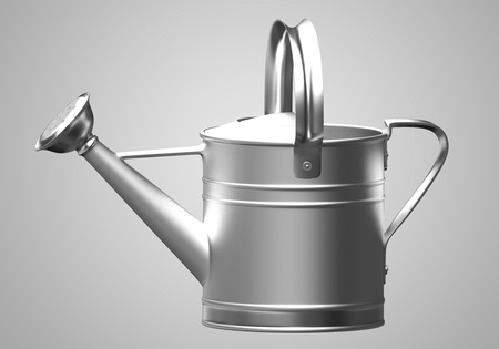 galvanized: 3D silver watering can Stock Photo