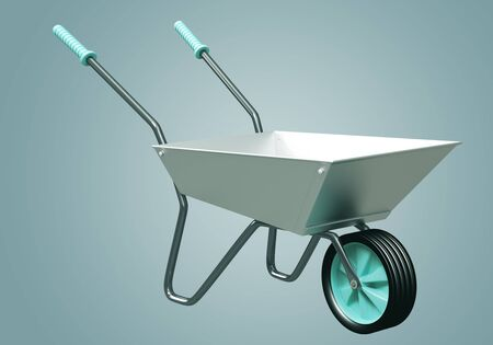 3D Wheelbarrow chromium illustration illustration