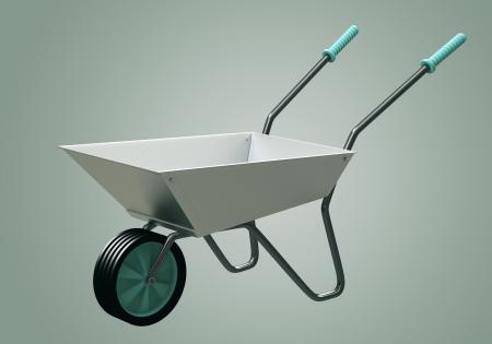3D Wheelbarrow chromium illustration Stock Photo