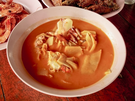 hot and sour, fish and vegetable ragout,  gaeng-som  food in thailand  photo