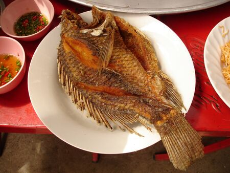 Fried fish thailand on a white dish on red table  photo