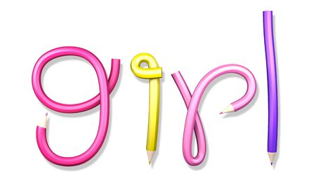 bends: 3D alphabet creative pencil colorful text  girl  on a white background  Isolated