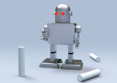 robot kid red eye and Batteries on gray background  Isolated 3d model photo