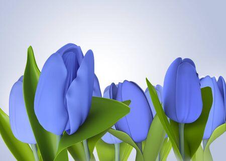 blue tulip: blue tulip flower model 3d isolated  illustration on a blue background
