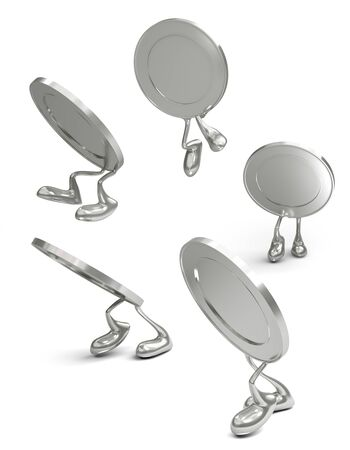 way bill: 3D silver coins walking go on white background, isolated