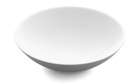 in bowl: White Sphere Bowl top view on white background  Isolated 3d model