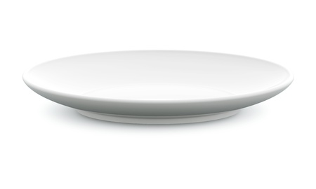 plate setting: White Sphere Dish plate side view on white background  Isolated 3d model  Stock Photo
