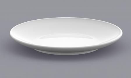 plato de comida: Plato Blanco Esfera placa vista lateral en el fondo aislado modelo 3d Foto de archivo