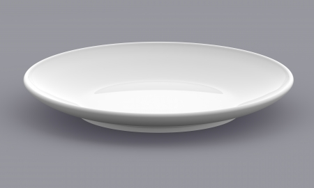 White Sphere Dish plate side view on background  Isolated 3d model  photo
