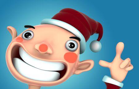 Santa Claus smile present snow 3d model isolated  illustration on blue background  Stock Illustration - 15355430