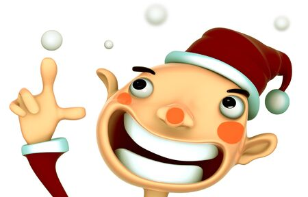 Santa Claus smile present snow 3d model isolated  illustration on white background  Stock Illustration - 15355410