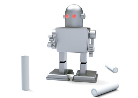 robot kid red eye and Batteries on white background  Isolated 3d model  photo