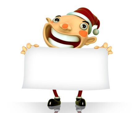 Santa Claus smile holding a blank sign isolated 3d illustration on a white background Stock Illustration - 15355280