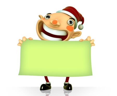 Santa Claus smile holding a blank sign isolated 3d illustration on a white background  Stock Illustration - 15355326