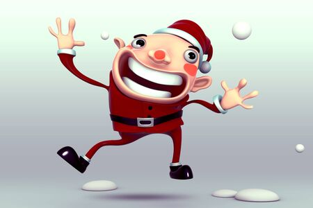Santa Claus happy jump isolated 3d illustration on a white background Stock Illustration - 15355355