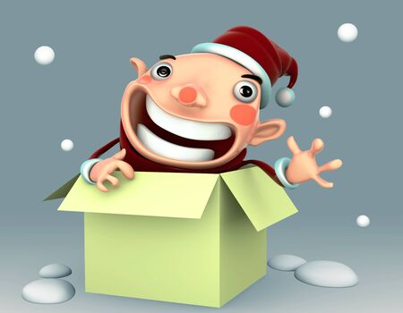 Santa Claus happy in the green box isolated 3d illustration on a blue background Stock Illustration - 15355412