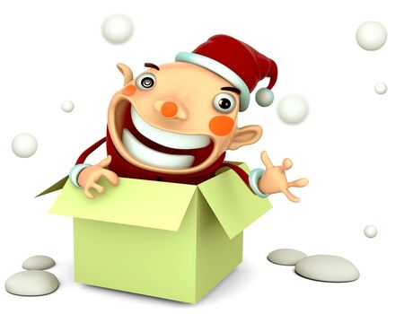 Santa Claus happy in the green box isolated 3d illustration on a white background  Stock Illustration - 15355368