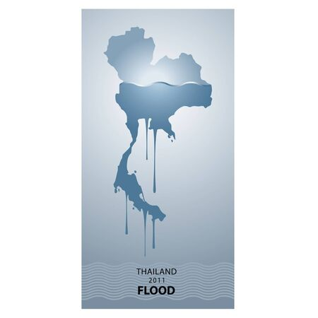 thailand flood 2011 design  Vector