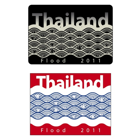 thailand flood 2011 sign isolated on a white background  Vector