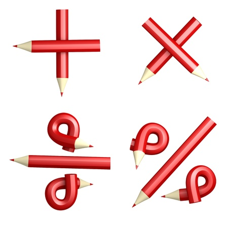 divide: 3D symbol calculator business creative red pencil on a white background  Isolated