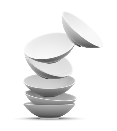 plate setting: White sphere bowl float and overlay on white background  Isolated 3d model