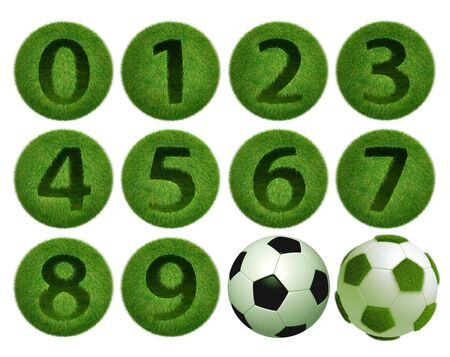 0 9: grass number 0 - 9 ball on white background  Isolated 3d model  Stock Photo