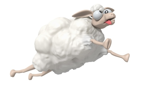 cartoon sheep: 3D Cheep illustration on a white background, isolated  Stock Photo