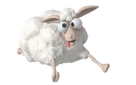 3D Cheep illustratie op een witte achtergrond, geïsoleerd