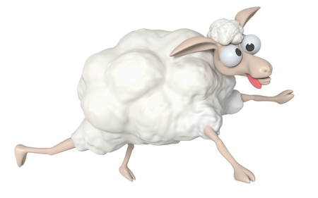 lambkin: 3D Cheep illustration on a white background, isolated  Stock Photo