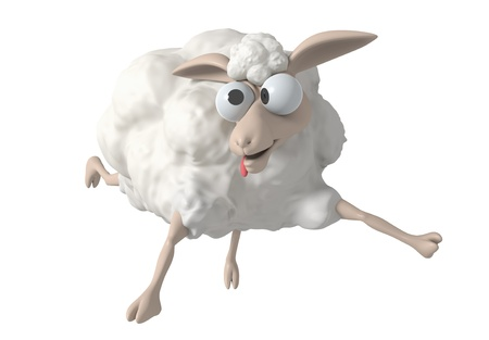 sheep wool: 3D Cheep illustration on a white background, isolated  Stock Photo
