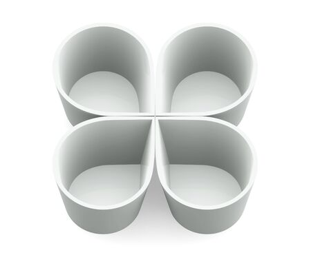 cooking ware: White form flower bowl cup on white background  Isolated 3d model